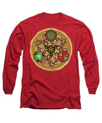 Celtic Reindeer Shield Long Sleeve T-Shirt
