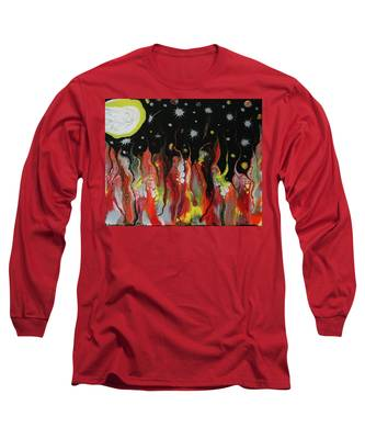 Long Sleeve T-Shirt featuring the painting Mars Moon by Vicki Winchester