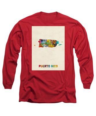 Puerto Rico Watercolor Map Long Sleeve T-Shirt