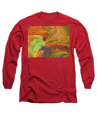 Long Sleeve T-Shirt featuring the painting Running Orange by Vicki Winchester