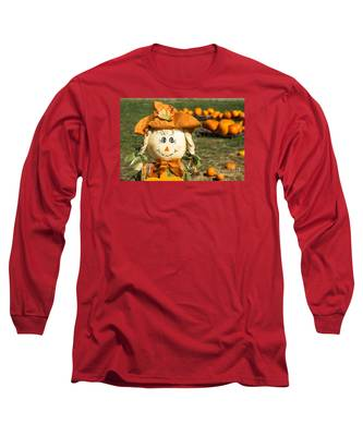 Smiling Scarecrow With Pumpkins Long Sleeve T-Shirt