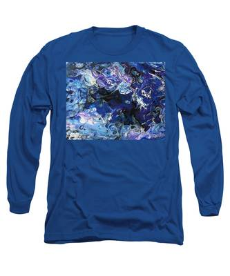 Long Sleeve T-Shirt featuring the painting  Blue On Blue by Vicki Winchester
