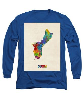 Guam Watercolor Map Long Sleeve T-Shirt