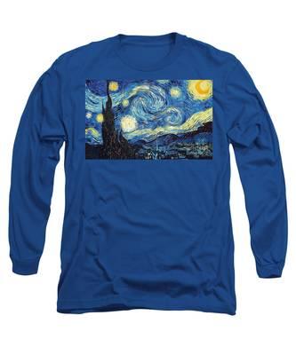 Starry Night By Van Gogh Long Sleeve T-Shirt