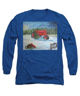 Antique Tractor At The Christmas Tree Farm Long Sleeve T-Shirt