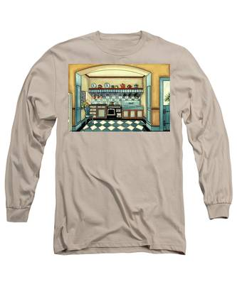 A Blue Kitchen With A Tiled Floor Long Sleeve T-Shirt