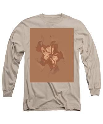 Beige Satin Morning Glory Long Sleeve T-Shirt