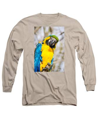 Blue And Gold Macaw Parrot Long Sleeve T-Shirt