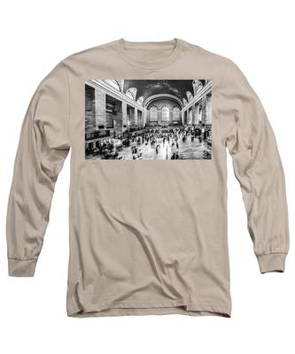 Grand Central Station -pano Bw Long Sleeve T-Shirt