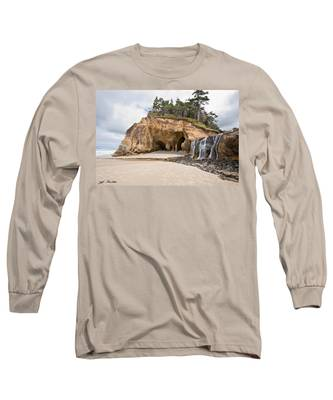 Waterfall Flowing Into The Pacific Ocean Long Sleeve T-Shirt