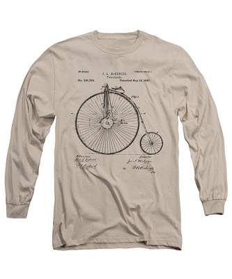 1881 Velocipede Bicycle Patent Artwork - Vintage Long Sleeve T-Shirt
