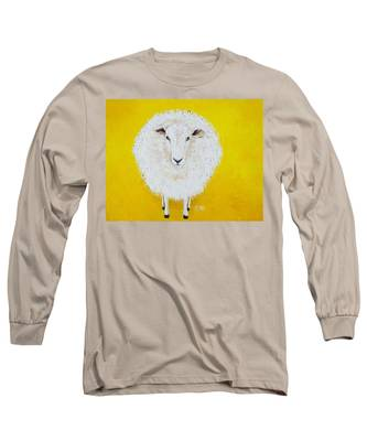 Sheep Painting On Yellow Background Long Sleeve T-Shirt