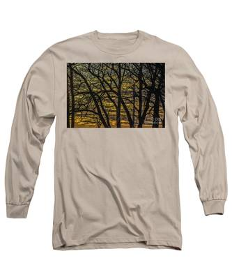 Beautiful Sunset Behind Bare Trees Long Sleeve T-Shirt