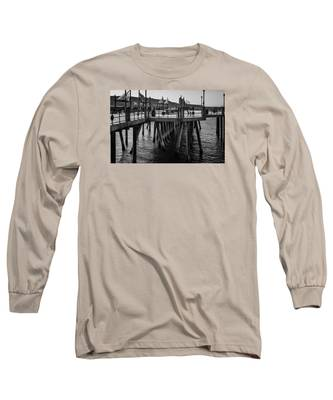 Black And White On The Pier Long Sleeve T-Shirt