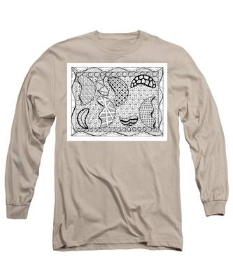 Long Sleeve T-Shirt featuring the drawing Broken Moons by Vicki Winchester