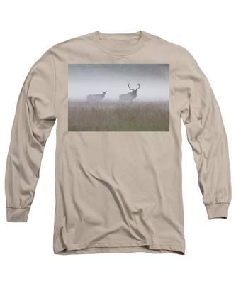 Bull And Cow Elk In Fog - September 30 2016 Long Sleeve T-Shirt