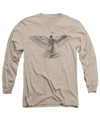 Icarus Human Flight Patent Artwork - Vintage Long Sleeve T-Shirt