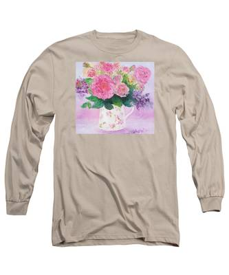 Roses In A Pink Floral Jug Long Sleeve T-Shirt