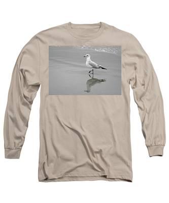 Sea Gull Walking In Surf Long Sleeve T-Shirt