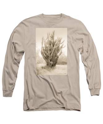 Tall Cactus In Sepia Long Sleeve T-Shirt