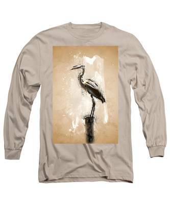Heron On Post Long Sleeve T-Shirt