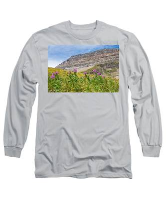 Meadow Of Fireweed Below The Continental Divide Long Sleeve T-Shirt