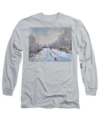 Snow Scene At Argenteuil Long Sleeve T-Shirt