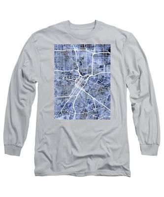 Houston Texas City Street Map Long Sleeve T-Shirt
