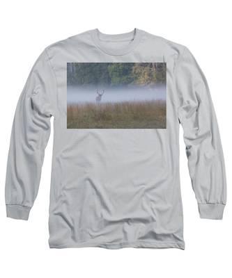 Bull Elk Disappearing In Fog - September 30 2016 Long Sleeve T-Shirt