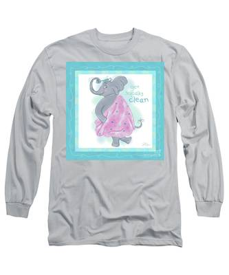 Elephant Bath Time Squeaky Clean Long Sleeve T-Shirt