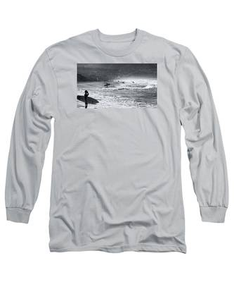 Waiting For The Surf By Mike-hope Long Sleeve T-Shirt