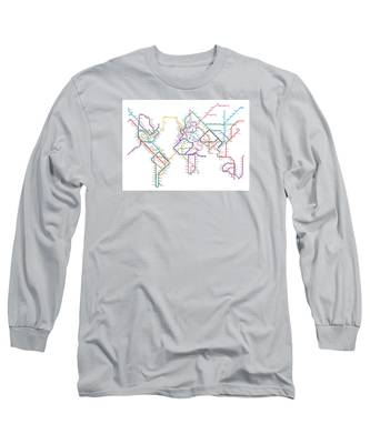 World Metro Tube Map Long Sleeve T-Shirt