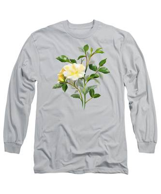 Yellow Watercolor Rose Long Sleeve T-Shirt