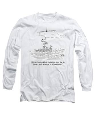 A Man And Woman Are Seen On A Raft With A Sail Long Sleeve T-Shirt