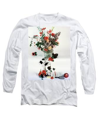 A Studio Shot Of A Vase Of Flowers And A Garden Long Sleeve T-Shirt