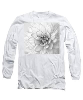 Dahlia Flower Black And White Long Sleeve T-Shirt