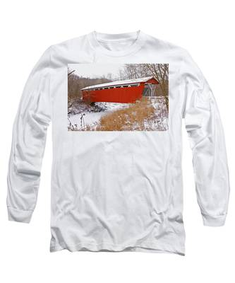 Everett Rd. Covered Bridge In Winter Long Sleeve T-Shirt