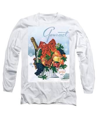 Gourmet Cover Illustration Of Holiday Fruit Basket Long Sleeve T-Shirt