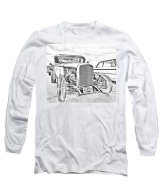 Hot Rod Faux Sketch Long Sleeve T-Shirt