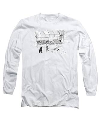 People Are Seen Walking Past A Produce Stand Long Sleeve T-Shirt