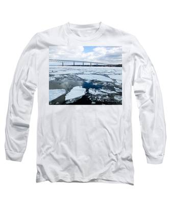 Rhinecliff Bridge Over The Icy Hudson River Long Sleeve T-Shirt