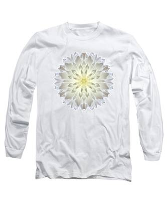 Giant White Dahlia I Flower Mandala White Long Sleeve T-Shirt