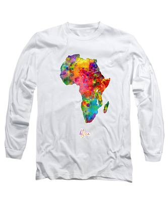Africa Watercolor Map Long Sleeve T-Shirt