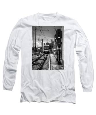 Electric Commuter Train In Bw Long Sleeve T-Shirt