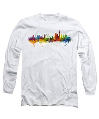 London England Skyline Panoramic Long Sleeve T-Shirt