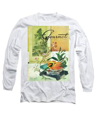 Gourmet Cover Featuring A Bowl Of Peaches Long Sleeve T-Shirt