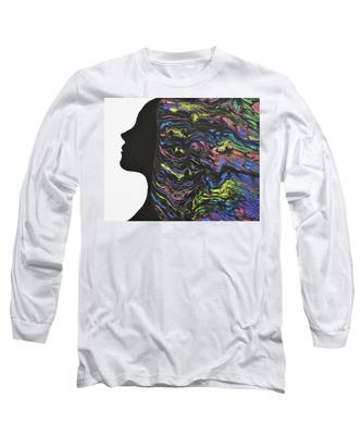 Long Sleeve T-Shirt featuring the painting Hair - Colors by Vicki Winchester