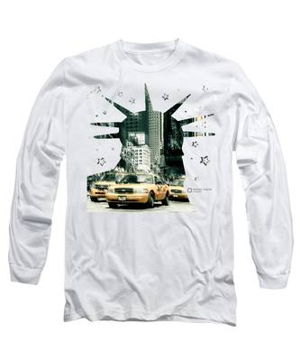 Lady Liberty And The Yellow Cabs Long Sleeve T-Shirt