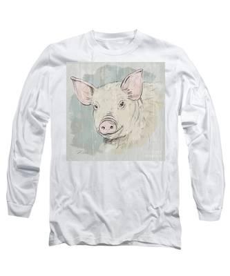 Pig Portrait-farm Animals Long Sleeve T-Shirt