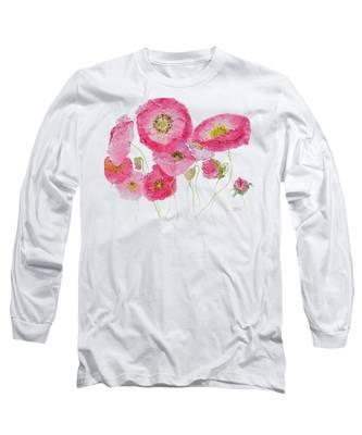 Poppy Painting On White Background Long Sleeve T-Shirt